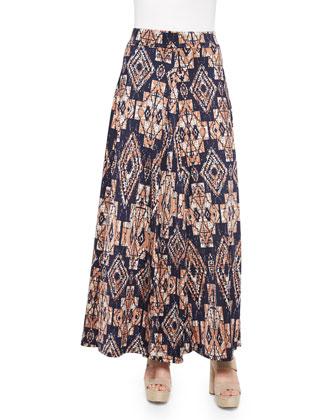 Tribal-Print Maxi Skirt, Navy/Multicolor