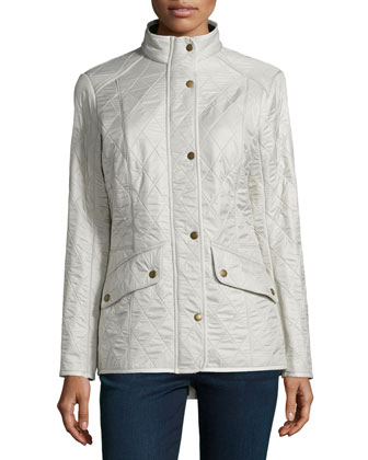 Cavalry Polar Long-Sleeve Snap-Front Quilted Jacket, Pearl