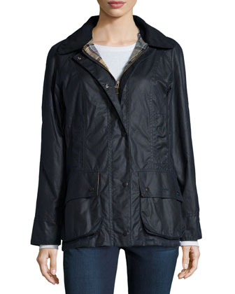 Waxed Cotton Jacket W/ Zip-In Liner, Navy