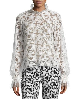 Meryl Bishop-Sleeve Lace Top, White