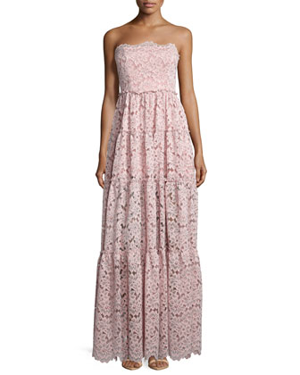 Magda Strapless Lace Maxi Dress, Pink