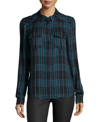 Mya Long-Sleeve Plaid Shirt, Black/Dark Pine