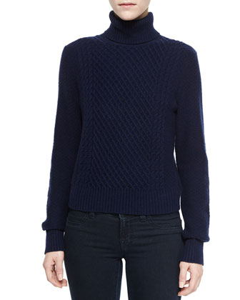 Atticus Turtleneck Pullover Sweater, Peacoat