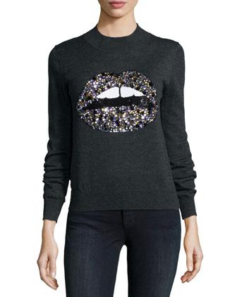 Lara Lip Natalie Sequined Merino Sweater, Charcoal