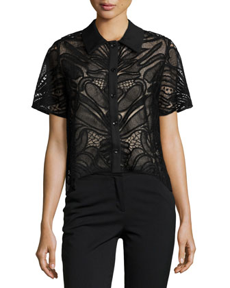 Lettie Short-Sleeve Abstract Mesh-Knit Top, Black