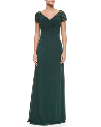 Ruched Cap-Sleeve Gown, Forest Green
