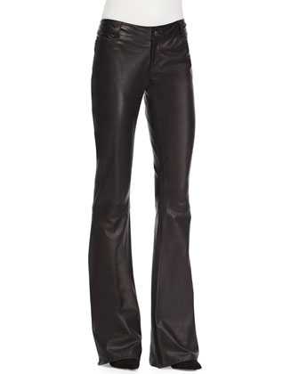 Arlene Surplice Blouse & Leather Flared Pants