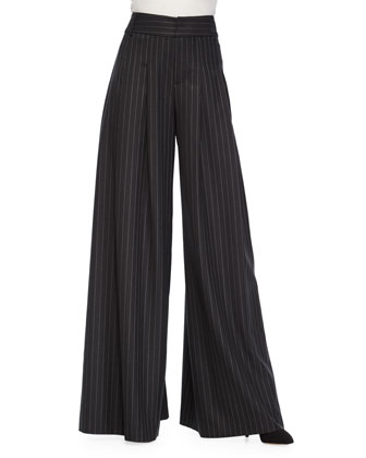 Gavin Cowl-Neck Pullover Sweater & Pinstripe Wide-Leg Pants
