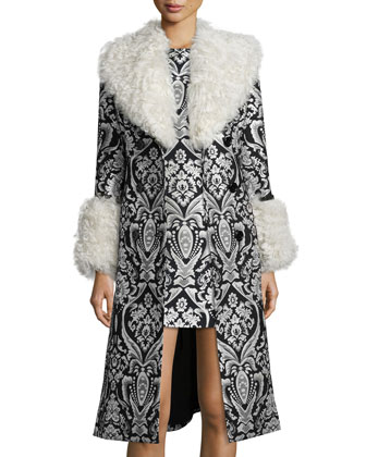 Damask Winona Fur-Trim Trenchcoat & Clyde Sleeveless Shift Dress