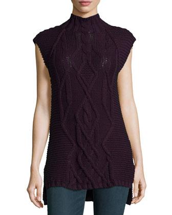 Mock-Neck Cable-Knit Cotton Gilet, Black Iris
