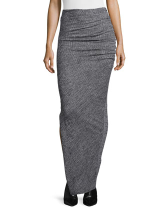 Christa Mock-Neck Crop Top & Octavia Ruched Wool Maxi Skirt