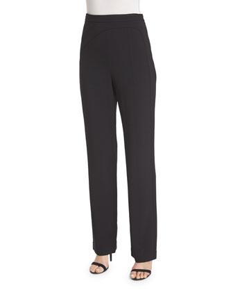 Seamed High-Waist Pants, Black