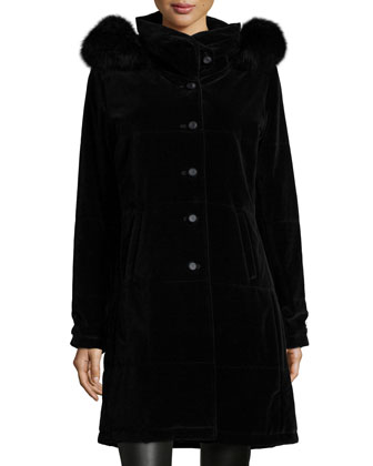 Hooded Fur-Trim Velvet Coat