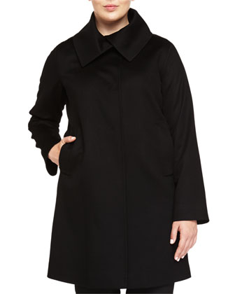 Cashmere Oversized-Collar Long Coat, Black, Women's