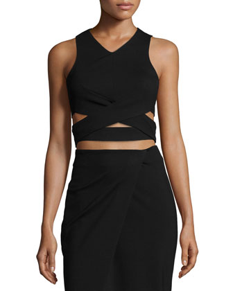 Ponte Crisscross-Waist Crop Top, Black