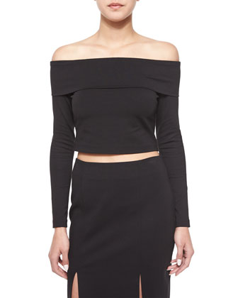 Long-Sleeve Crop Top, Black