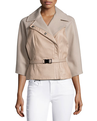 Raw-Cut Belted Melton Jacket, Ginger