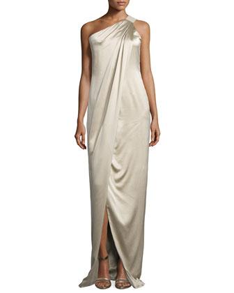 One-Shoulder Draped Gown, Burlap