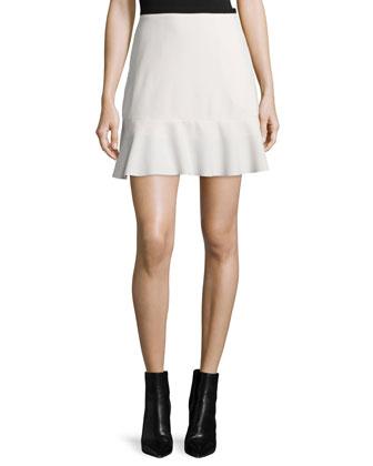 Bobble Knit Long-Sleeve Sweater & Graphic Crepe Ruffle-Hem Skirt