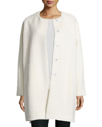 Fisher Project Alpaca-Blend Cocoon Coat, Georgette Crepe Long Shell, Fluffy ...
