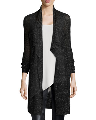 Draped Cardigan, Asymmetric Shell, and Leather-Blocked Leggings, Women's