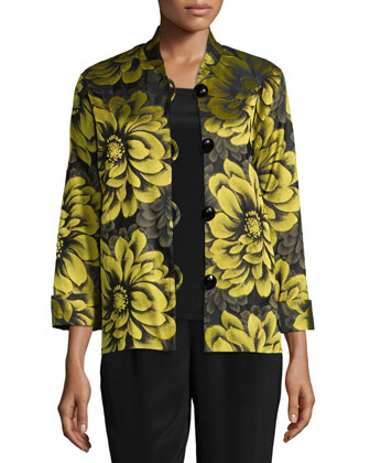 Flower Show Boxy Jacket, Plus Size