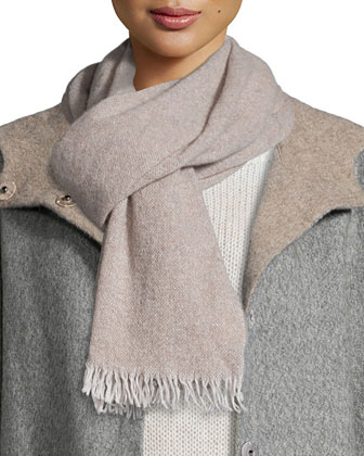 Alpaca Double-Face Knee-Length Coat, Reclaimed Cashmere-Blend Scarf, Airy ...