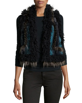 Ombre Chinchilla Faux-Fur Vest, Teal