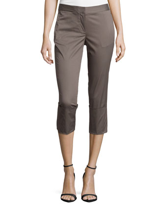 Skinny-Leg Wide-Cuff Pants, Dark Lead