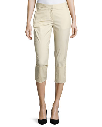 Skinny-Leg Wide-Cuff Pants, Parchment