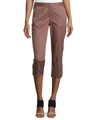 Skinny-Leg Wide-Cuff Pants, Burnt Rose