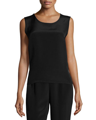 Silk Crepe Mid-Length Tank, Women's