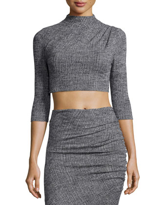 Christa Mock-Neck Crop Top, Gray
