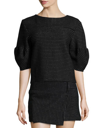 Winston Bubble-Sleeve Pinstripe Top, Black/White