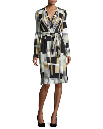 Long-Sleeve Geo-Printed Belted Dress