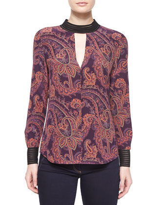 Bolton Paisley-Print Tie-Back Blouse & Flare-Leg Dark Stretch Jeans