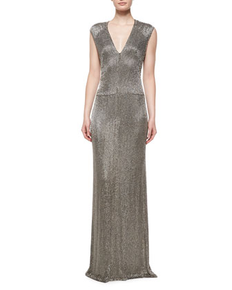 Sleeveless Linear Crystal Bugle Gown, Dark Lead