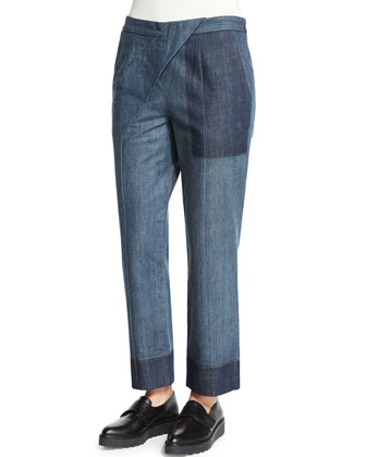 Striped Cross-Front Pants, Blue