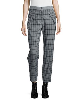 Plaid Crossover Asymmetric Coat, Plaid Tie-Neck Silk Blouse & Asymmetric ...