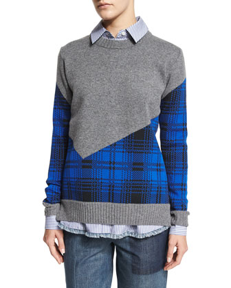 Plaid Combo Cropped-Back Crewneck Sweater, Striped Crossover-Back Shirt & ...