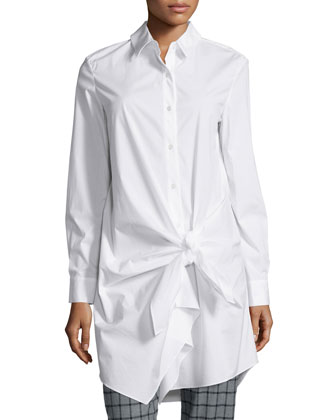Long-Sleeve Side-Tie Shirtdress, White