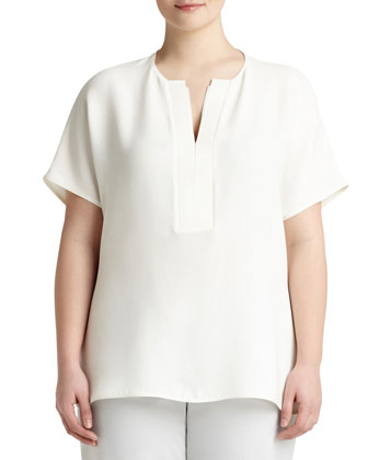Lulu Short-Sleeve Silk Blouse, Women's