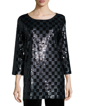 3/4-Sleeve Square Sequined Tunic, Women's