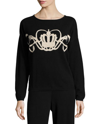 Crown Intarsia Wool-Cashmere Sweater, Petite