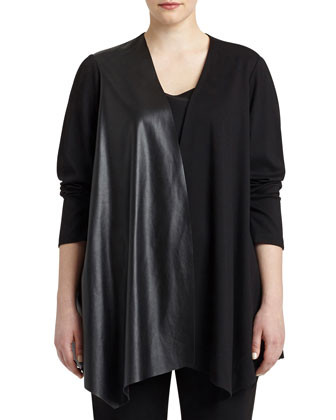 Relaxed Waterfall Jacket with Leatherette Panel, Women's