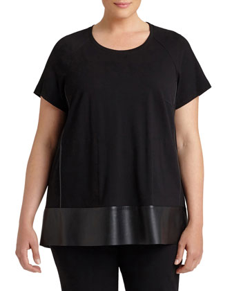 Relaxed Swing Top W/ Leatherette Trim, Women's