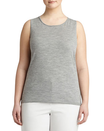 Fine-Gauge Merino Tank Top, Light Nickel, Women's