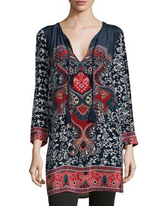 Ceclia Long Printed Silk Tunic, Women's