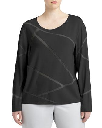 Long-Sleeve Mosaic Intarsia Sweater, Women's