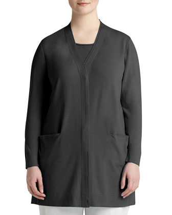 Double-Placket Long Cardigan, Women's